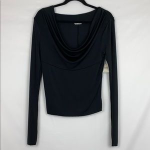 Free People Cowl Neck Long Sleeve Blouse Top